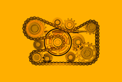 chain and cogs on yellow background